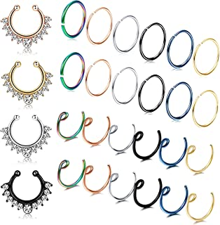 LOYALLOOK 28PCS Stainless Steel Fake Septum Ring Nose Hoop Piercing Clicker Ring Septum Retainer Set Body Jewelry Piercing