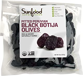 Sunfood Superfoods Organic Raw Olives- Pitted Peruvian Black Botija Olives. Hand Selected, Sea-Salt Cured, Low Temperature...
