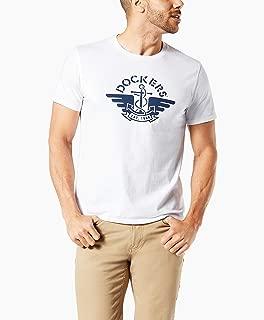 Dockers Men's Short Sleeve Crewneck Tee Shirt, Paper White-1986 Logo, XL