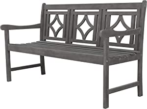 Vifah Renaissance Outdoor Patio Diamond 5-Foot Hand-Scraped Hardwood Bench