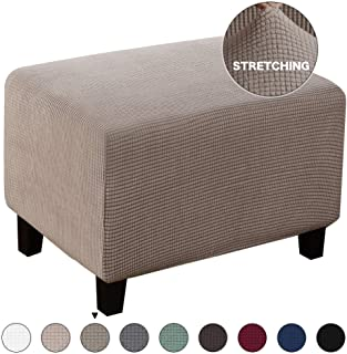 Turquoize Oversize Ottoman Slipcover Jacquard Polyester Stretch Fabric Rectangle Folding Storage Stool Ottoman Cover Furniture Protector for Living Room (Oversize, Taupe)