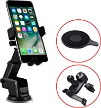 TERSELY Universal Mobile Phone Car Holder Mount, 360°Rotating Car Phone Cradle Holder Suction Windshield for Apple iPhone 11 Pro Max-Samsung S10 Note 10 Plus [Extra Dashboard & Vent Clip Included]