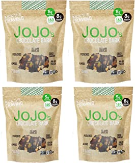 JOJO's Guilt Free Dark Chocolate | 28 Bars | Keto, Vegan and Paleo Friendly, Non GMO Gluten Free Healthy Snacks, Low Sugar Chocolate with Plant Based Protein, Raw Nuts + Dried Fruit | 4 8.4oz Bags