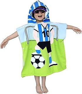 Athaelay Super Soft Hooded Pool Towel for Kids, Toddlers Bath/Beach/Swim Poncho Cover-ups Swimwear, Soccer Kid