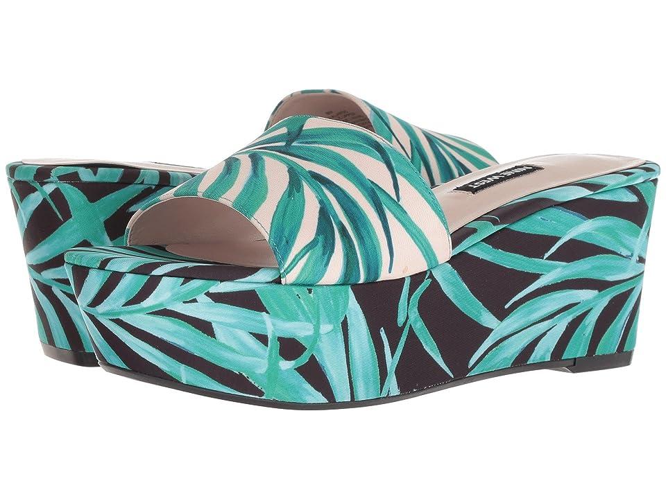 Nine West Falardo Platform Wedge Slide Sandal (Pink Multi Fabric) Women