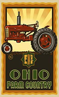 "Northwest Art Mall PAL-3015 TPS Ohio Farm Country Tractor Profile Sunrise 11""X17"" Print by Artist Paul A. Lanquist"