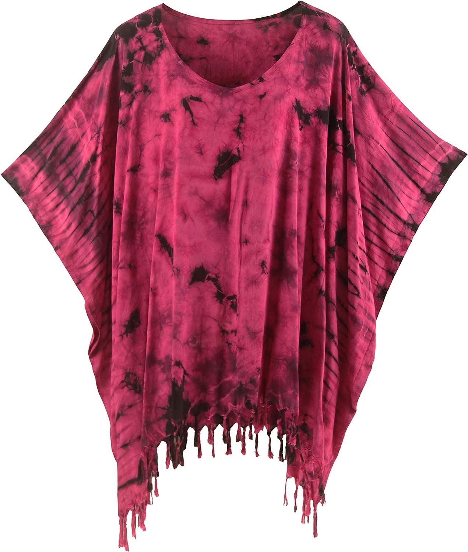 Chest 40\u201d Indigo Tie Dye Shibori Kaftan Poncho Bohemian Blouse Women Shirt Tops Tees,One size fit XS,S,M,L