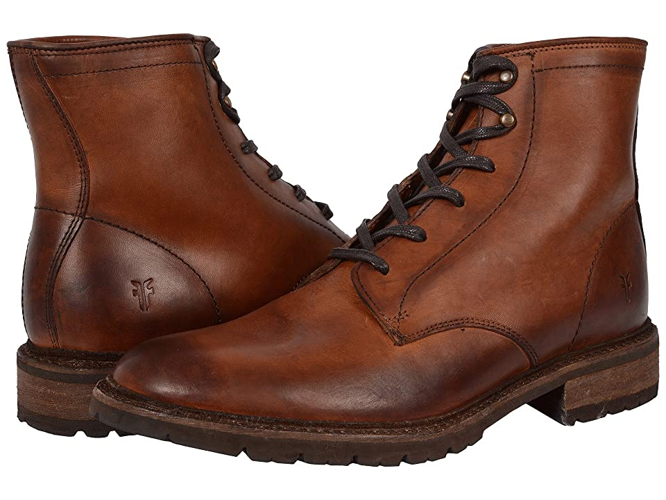 Frye James Lug Lace Up (Cognac Smooth Full Grain) Men