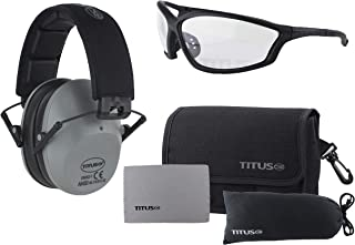 Titus 2 Series - 34 NRR Slim-Line Hearing Protection & G26 Competition Z87.1 Safety Glasses Combos (Grey, Clear)