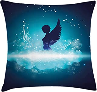 Ambesonne Blue Throw Pillow Cushion Cover, Fantasy Mythology Themed Artwork with a Angel Woman Silhouette Wings Bubbles, Decorative Square Accent Pillow Case, 16 X 16 Inches, Dark Blue Light Blue