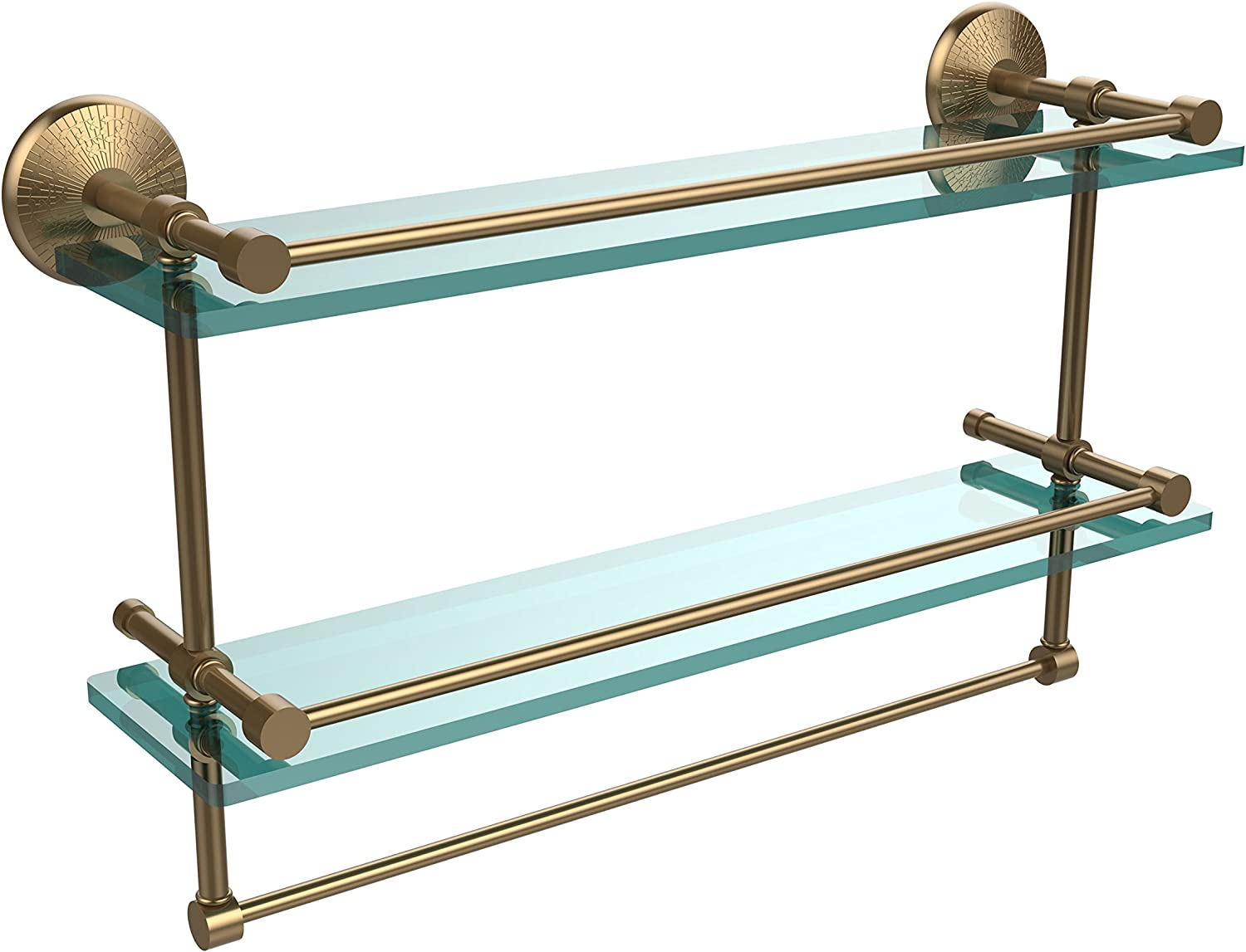 Allied Brass MC-2TB 22-GAL-BBR 22 Inch Gallery Double Glass Shelf with Towel Bar Brushed Bronze