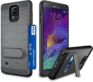 Galaxy Note 4 Case, Zectoo Galaxy Note 4 Wallet case Heavy Duty [Card Pocket] Anti Scratch Dual Layer Kickstand Shockproof Bumper Protective Hybrid Card Case Cover for Samsung Galaxy Note 4 - Black