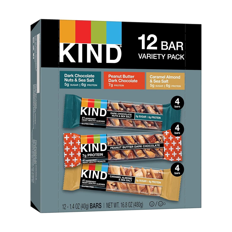 KIND Healthy Snack Bars, Customer Favorites Variety Pack, Gluten Free Bars, 1.4 OZ, 12 Count