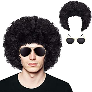 Afro Wig Short Curly Hair Wig and Gold Frame Sunglasses for 70s 80s 90s Halloween Cosplay Party Accessory