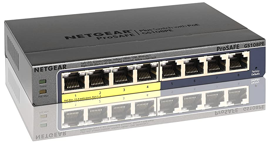 NETGEAR 8-Port Gigabit Ethernet Unmanaged PoE Switch (GS108PEv3) - with 4 x PoE @ 53W, Desktop/Rackmount, and ProSAFE Lifetime Protection
