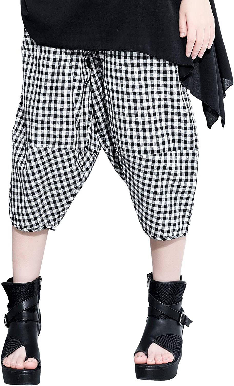 ellazhu Women Black Plaid Loose Side Pockets Fashion Cropped Harem Pants GY2473