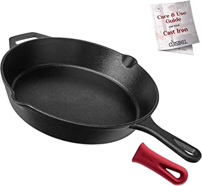 """Cuisinel Cast Iron Skillet - 12""""-Inch Frying Pan with Assist Handle + Red Silicone Grip Cover - Pre-Seasoned Oven Safe Cookware - Indoor/Outdoor Use - Grill, Stovetop, Induction, BBQ and Firepit Safe"""