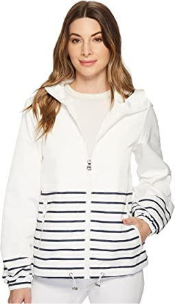 Hooded Short Parka with Contrast Stripes