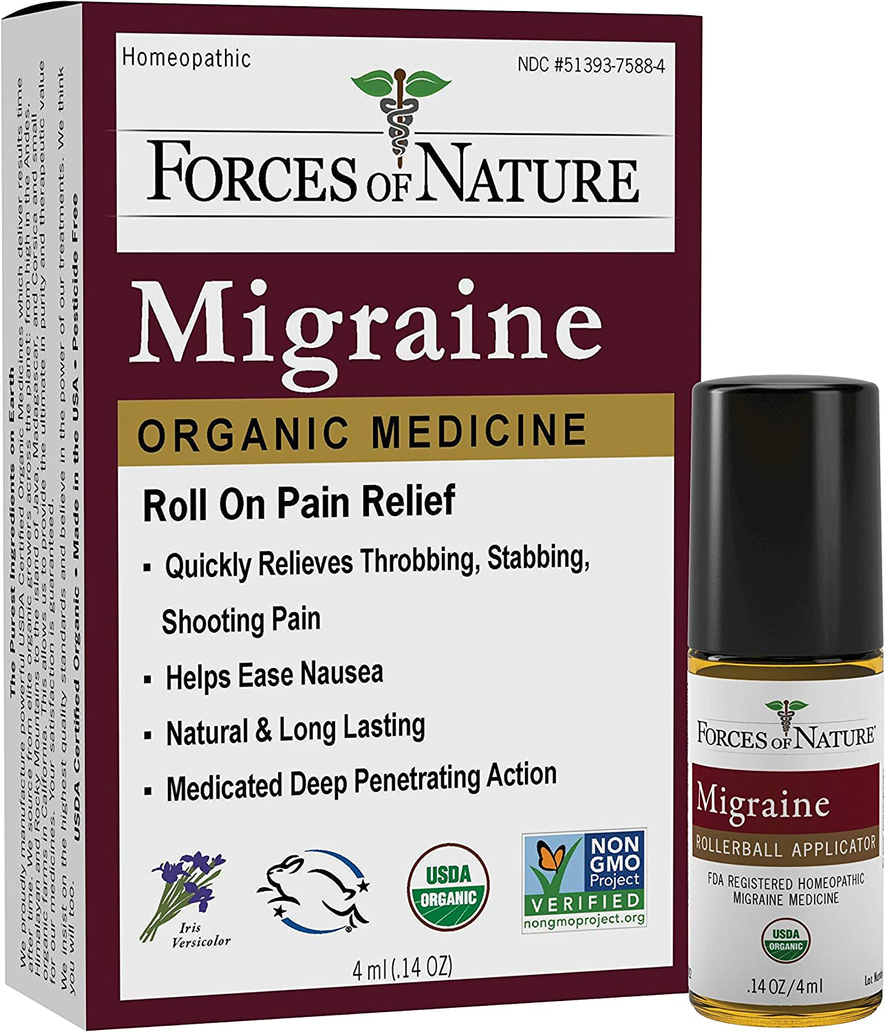 Forces of Nature -Natural Organic 4ml Super sale Migraine Classic No Pain Relief