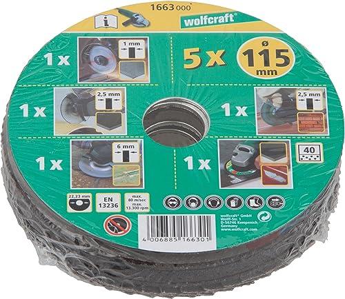 Wolfcraft 1664000 conjunto básico para amoladora de ángulo, 5 pzas. PACK 1, verde, ø 125 mm