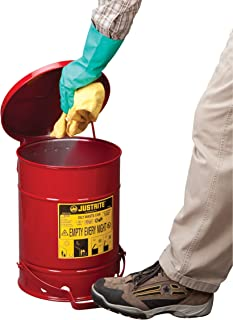 Justrite SoundGuard 09108 Galvanized Steel Oily Waste Safety Can with Foot Operated Cover, 6 Gallon Capacity, Red