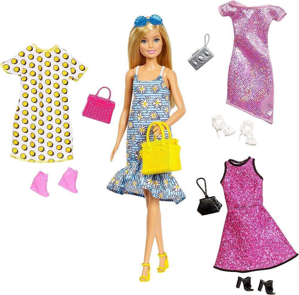 Barbie, bambola con 4 outfit diversi e accessori GDJ40