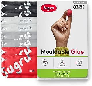Sugru I000450 Moldable Glue-Family-Safe | Skin-Friendly Formula-Black, White, Grey & Red (8-Pack), 8 Piece