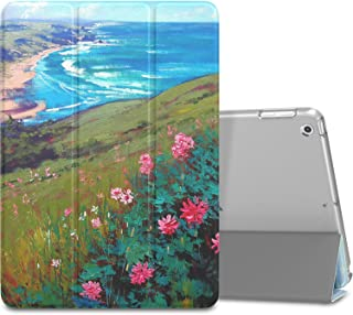 MoKo Case Fit 2018/2017 iPad 9.7 6th/5th Generation - Slim Lightweight Smart Shell Stand Cover with Translucent Frosted Back Protector Fit Apple iPad 9.7 Inch 2018/2017, Sea & Flower(Auto Wake/Sleep)