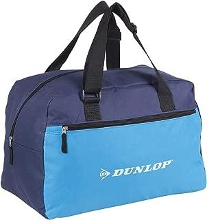 Vuelta a la Escuela Dunlop Azul Marino Retro Envejecido con Aspecto de Cuero Bolsa Hombro Bolsa de Gimnasio con Ribete de Color Crudo