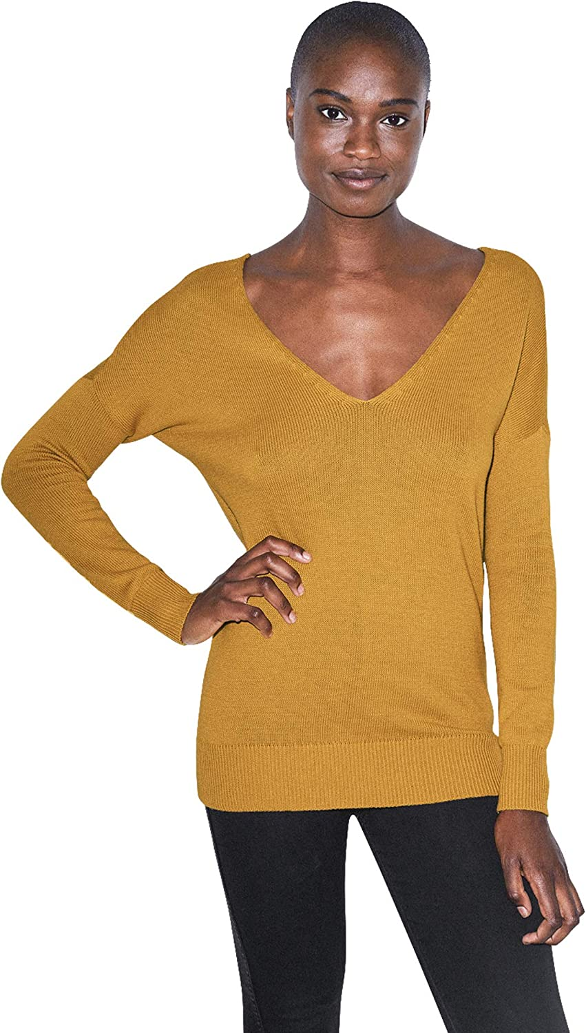 American Apparel Women's Basic excellence Knit Sweater Sleeve Long Genuine V