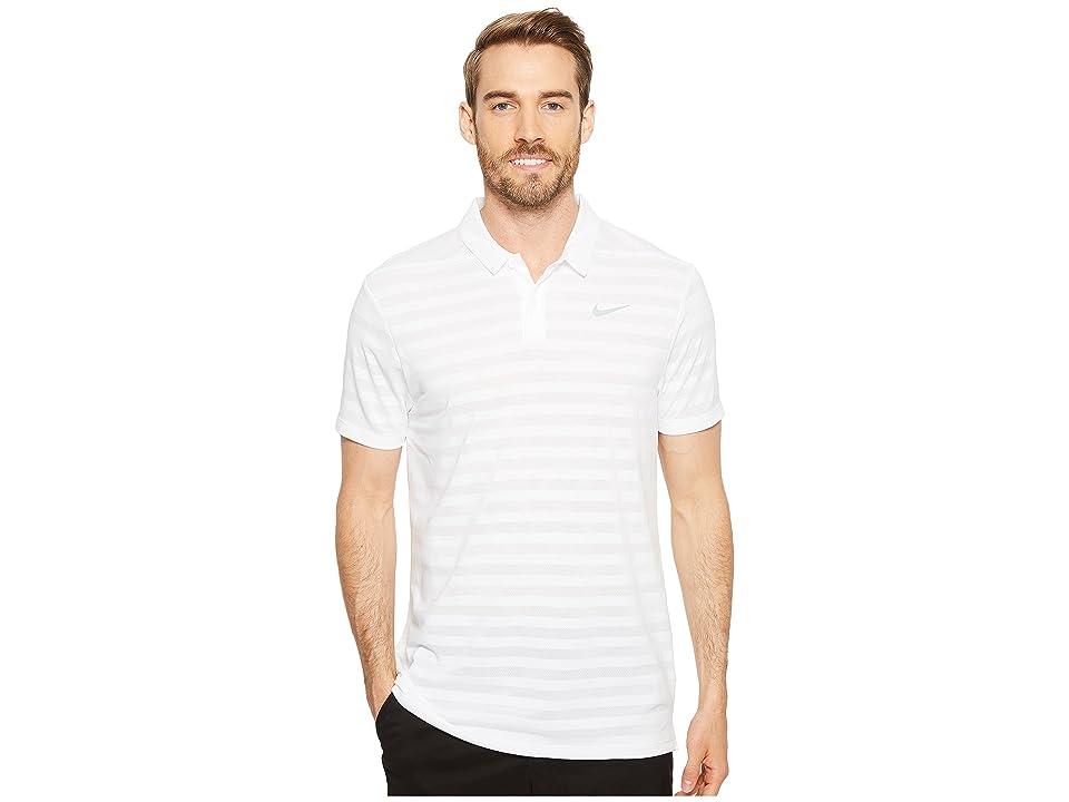 Nike Golf Breathe Stripe Polo OLC (White/Flat Silver) Men