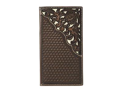 M&F Western Nocona Filagree Corner Overlay Rodeo Wallet (Brown/Ivory) Handbags