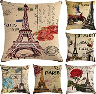 Faylapa 6 Pack Eiffel Tower Cotton Linen Pillow Cases, Flower Decorative Cushion Cover Pillowcase Indoor Sofa Decorations 18×18 Inches (45×45cm)(Case ONLY)