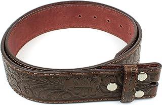Correa de cinturón de piel con relieve Western espirales 3,8cm de ancho con Snaps