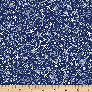Michael Miller Fiveloaves Twofish Just Shellin' Seashore Royal Fabric, 37 Denim, Fabric By The Yard