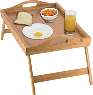 Home-it Bed Tray table with folding legs, and breakfast tray Bamboo bed table and bed tray with legs
