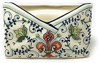 CERAMICHE D'ARTE PARRINI- Ceramica italiana artistica, portalettere decorazione giglio, dipinta a mano, made in ITALY Toscana