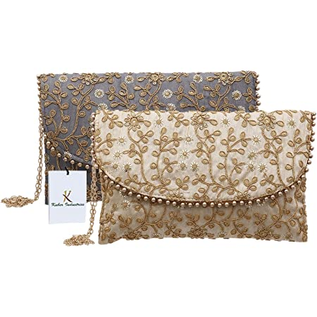 Kuber Industries Handcrafted 2 Pieces Embroidered Clutch Bag Purse Handbag for Bridal, Casual, Party, Wedding (Cream & Grey) - CTKTC034533