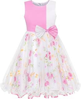 Girls Dress Bow Tie Green Pink Color Contrast Size 4-12