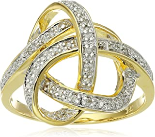 Yellow Gold Plated Sterling Silver Ribbon Diamond Ring (1/10 cttw, I-J Color, I2-I3 Clarity)