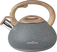TENGXIN Whistling Tea Kettle,2.1 Quart,Food Grade,Stainless Steel Material,Marble Texture Finished Teapot,Anti-Hot Handle and Anti-Rust, Suitable for All Heat Sources.