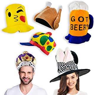 Upper Midland Products 6 Costume Hats Silly Hats Funny Hats for Adults Crazy Hats for Adults Photo Booth Party Prop