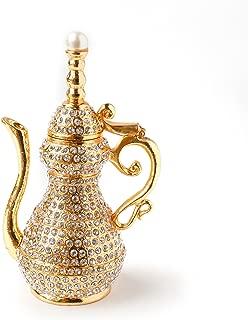 Apropos Vintage Style Golden Pot with Rhinestones Trinket Box