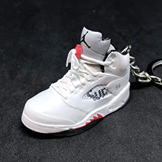 Air Jordan V 5 Retro White Supreme OG Sneakers Shoes 3D Keychain 1:6 Figure