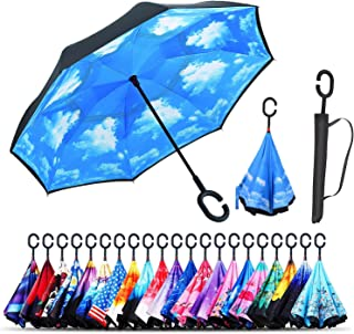 (blue sky) - Monstleo Inverted Umbrella Double Layer Cars Reversible Umbrella,Windproof UV Protection Big Straight Umbrella for Car Rain Outdoor With C-Shaped Handle and Carrying Bag