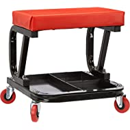 AmazonBasics Rolling Creeper, Garage/Shop Seat with 300 lb Capacity - Red