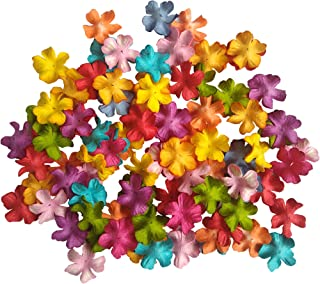 NATTHAFLOWER 100 Mixed Colors Mulberry Blossoms Paper Flowers Size 20 mm Scrapbooking Embellishment