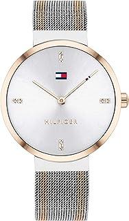 ساعة للنساء من تومي هيلفجر، بمينا بيضاء وسوار من الستانلس ستيل بلونين- 1782221