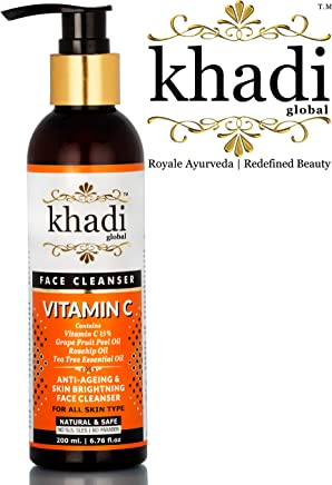 Khadi Global Vitamin C Face Cleanser With Vitamin C 15% + Grape Fruit Peel Oil + Rosehip Oil + Tea Tree Essential Oil + Best Anti Acne Face wash + Best Anti Ageing Facewash + Best Fairness Facewash
