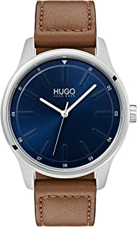 Hugo Boss Men'S Blue Dial Brown Leather Watch - 1530029